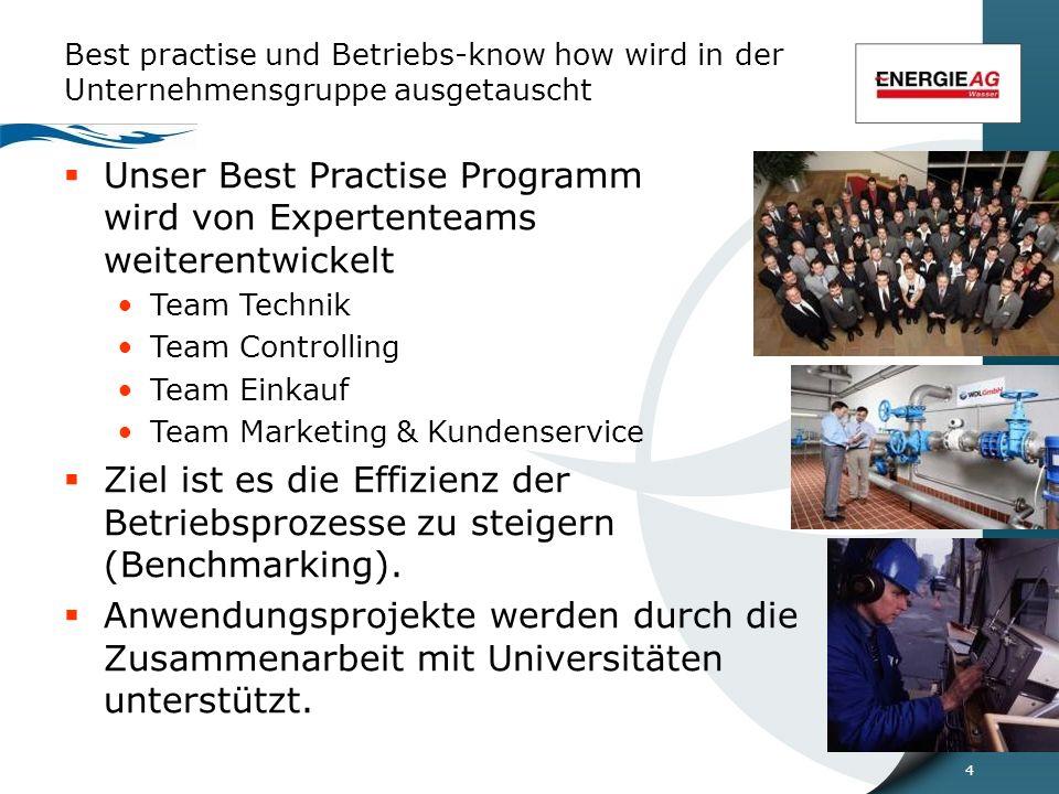4 Best practise und Betriebs-know how wird in der Unternehmensgruppe ausgetauscht  Unser Best Practise Programm wird von Expertenteams weiterentwickelt Team Technik Team Controlling Team Einkauf Team Marketing & Kundenservice  Ziel ist es die Effizienz der Betriebsprozesse zu steigern (Benchmarking).