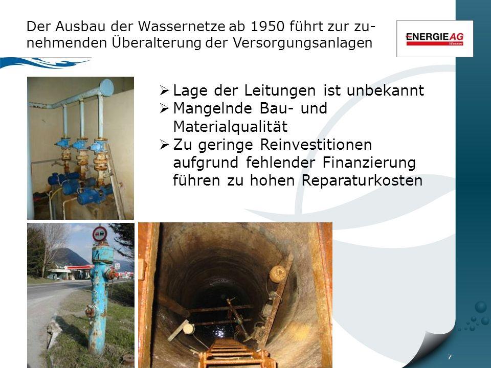7 Der Ausbau der Wassernetze ab 1950 führt zur zu- nehmenden Überalterung der Versorgungsanlagen  Lage der Leitungen ist unbekannt  Mangelnde Bau- und Materialqualität  Zu geringe Reinvestitionen aufgrund fehlender Finanzierung führen zu hohen Reparaturkosten