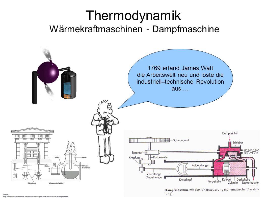 Thermodynamik Wärmekraftmaschinen - Dampfmaschine 1769 erfand James Watt die Arbeitswelt neu und löste die industriell–technische Revolution aus.…