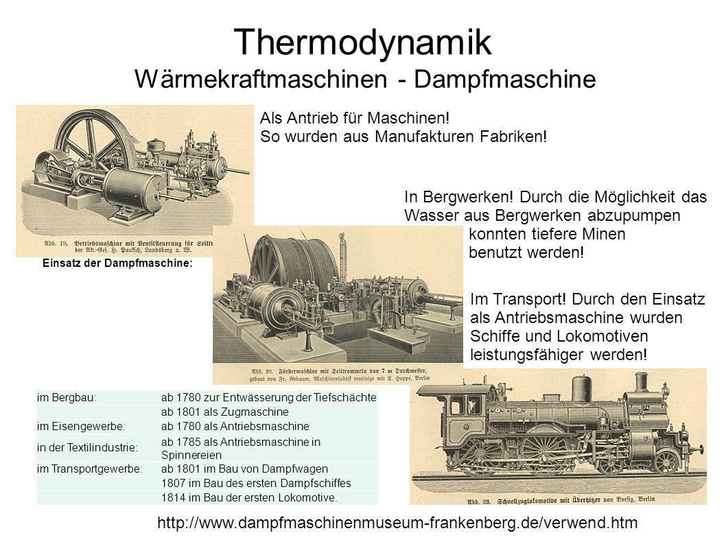 Thermodynamik Wärmekraftmaschinen - Dampfmaschine http://www.dampfmaschinenmuseum-frankenberg.de/verwend.htm Als Antrieb für Maschinen! So wurden aus