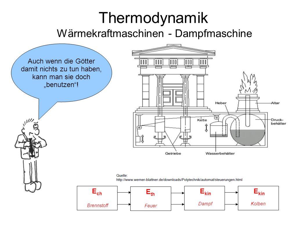"""Thermodynamik Wärmekraftmaschinen - Dampfmaschine Auch wenn die Götter damit nichts zu tun haben, kann man sie doch """"benutzen""""! E kin E ch E th E kin"""