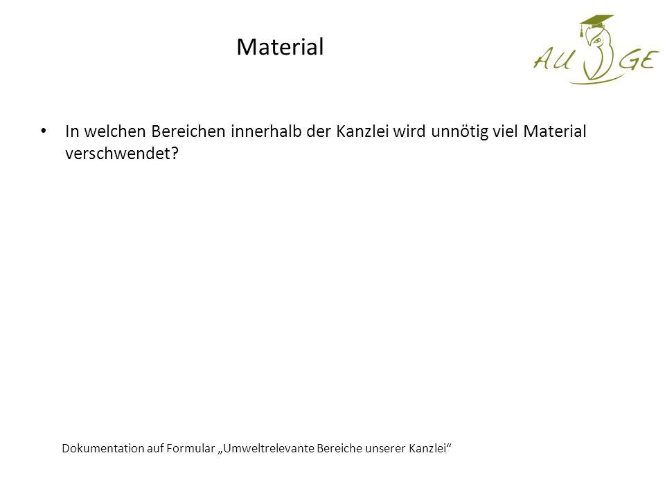 Material In welchen Bereichen innerhalb der Kanzlei wird unnötig viel Material verschwendet.