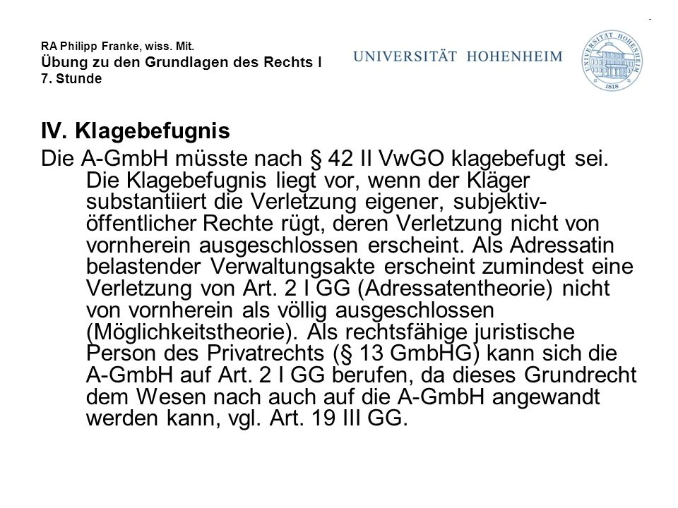 RA Philipp Franke, wiss.Mit. Übung zu den Grundlagen des Rechts I 7.