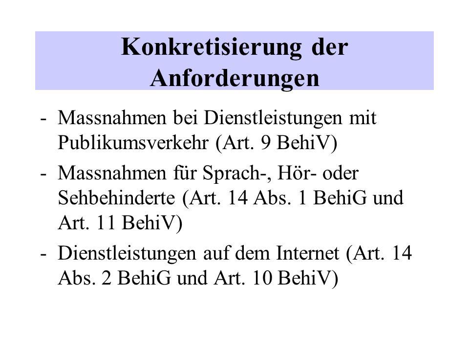 Konkretisierung der Anforderungen -Massnahmen bei Dienstleistungen mit Publikumsverkehr (Art.