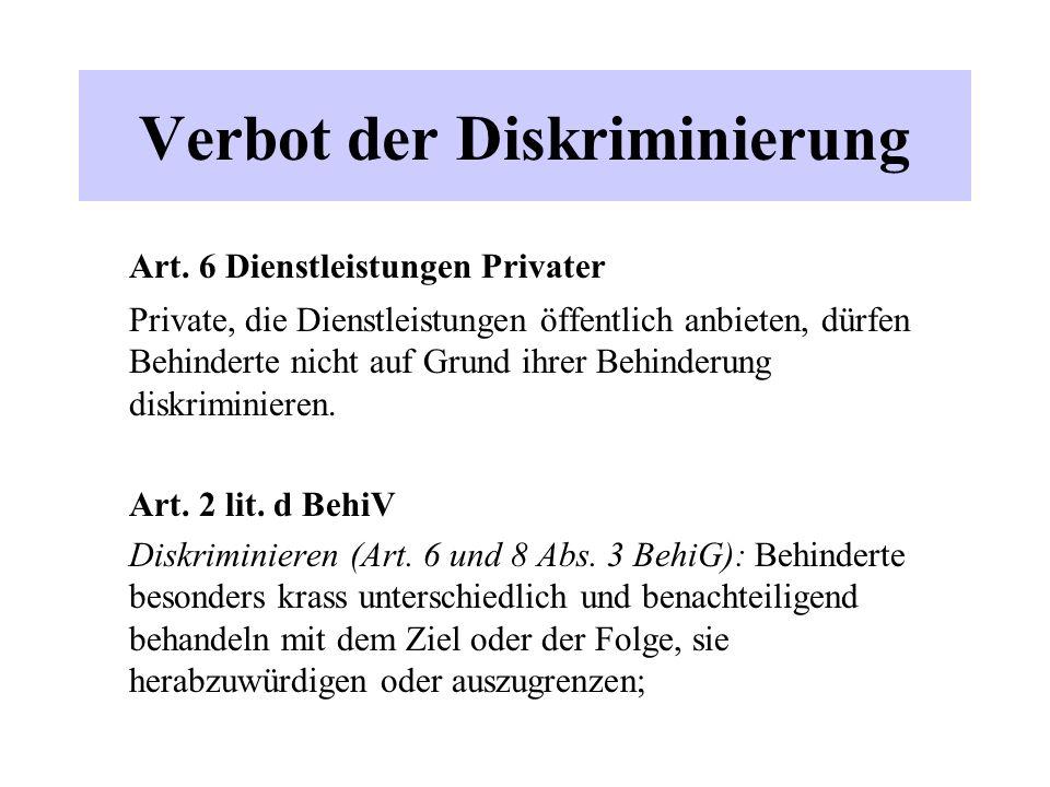 Verbot der Diskriminierung Art.