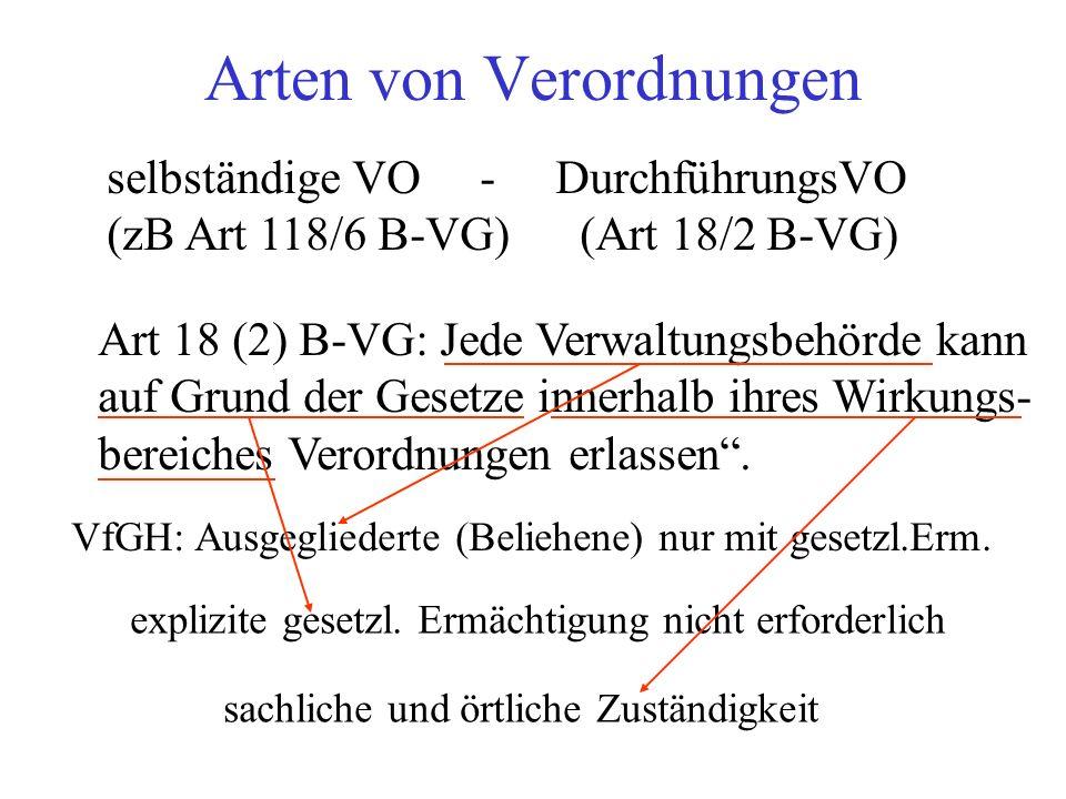 Arten von Verordnungen selbständige VO - DurchführungsVO (zB Art 118/6 B-VG) (Art 18/2 B-VG) Art 18 (2) B-VG: Jede Verwaltungsbehörde kann auf Grund der Gesetze innerhalb ihres Wirkungs- bereiches Verordnungen erlassen .