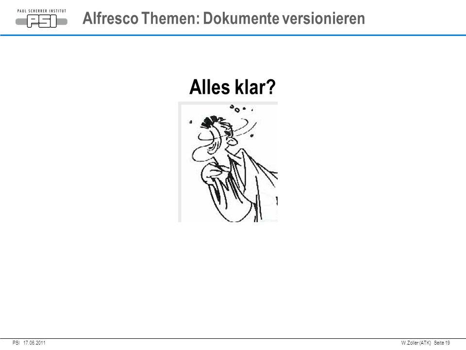 05.04.2011PSI, Alfresco Themen: Dokumente versionieren Alles klar.