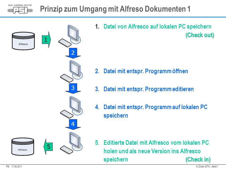 05.04.2011PSI, Prinzip zum Umgang mit Alfreso Dokumenten 1 PSI 17.06.2011 W.Zoller (ATK) Seite 7 1 2 3 4 5 (Check out) 1.Datei von Alfresco auf lokalen PC speichern (Check out) 2.Datei mit entspr.