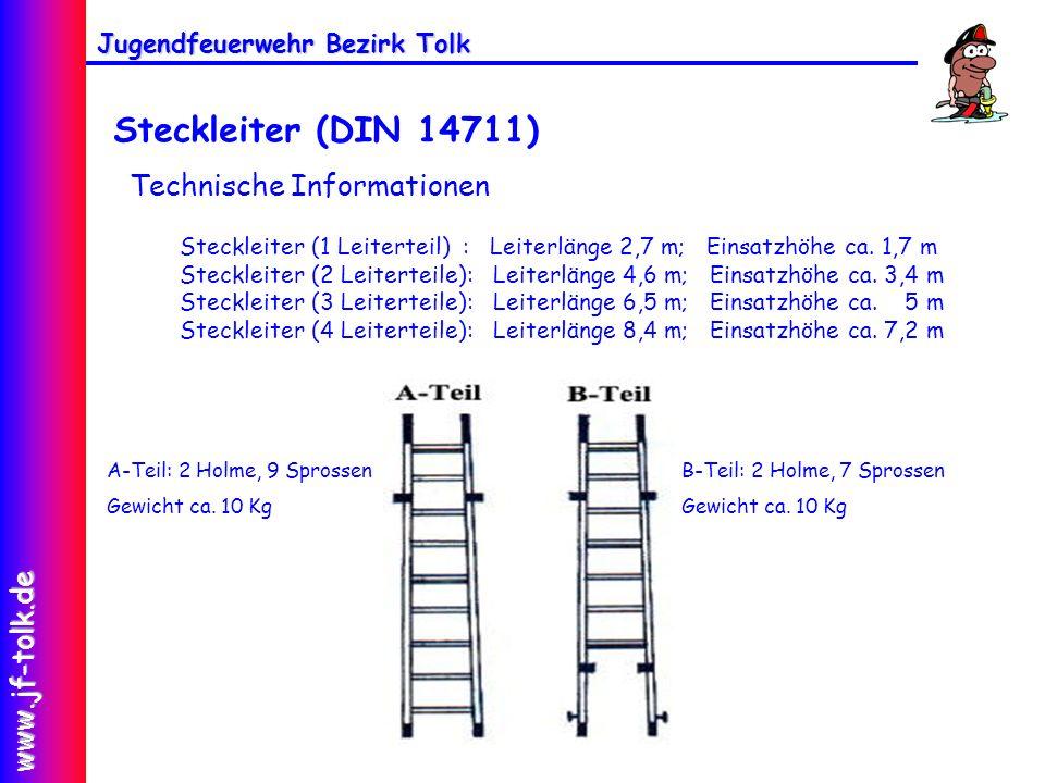 Jugendfeuerwehr Bezirk Tolk www.jf-tolk.de Technische Informationen Steckleiter (1 Leiterteil) : Leiterlänge 2,7 m; Einsatzhöhe ca. 1,7 m Steckleiter