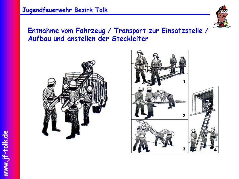 Jugendfeuerwehr Bezirk Tolk www.jf-tolk.de Entnahme vom Fahrzeug / Transport zur Einsatzstelle / Aufbau und anstellen der Steckleiter
