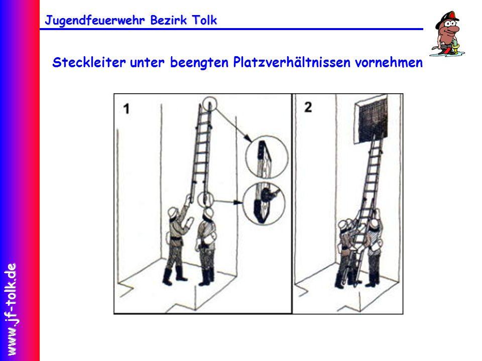 Jugendfeuerwehr Bezirk Tolk www.jf-tolk.de Steckleiter unter beengten Platzverhältnissen vornehmen