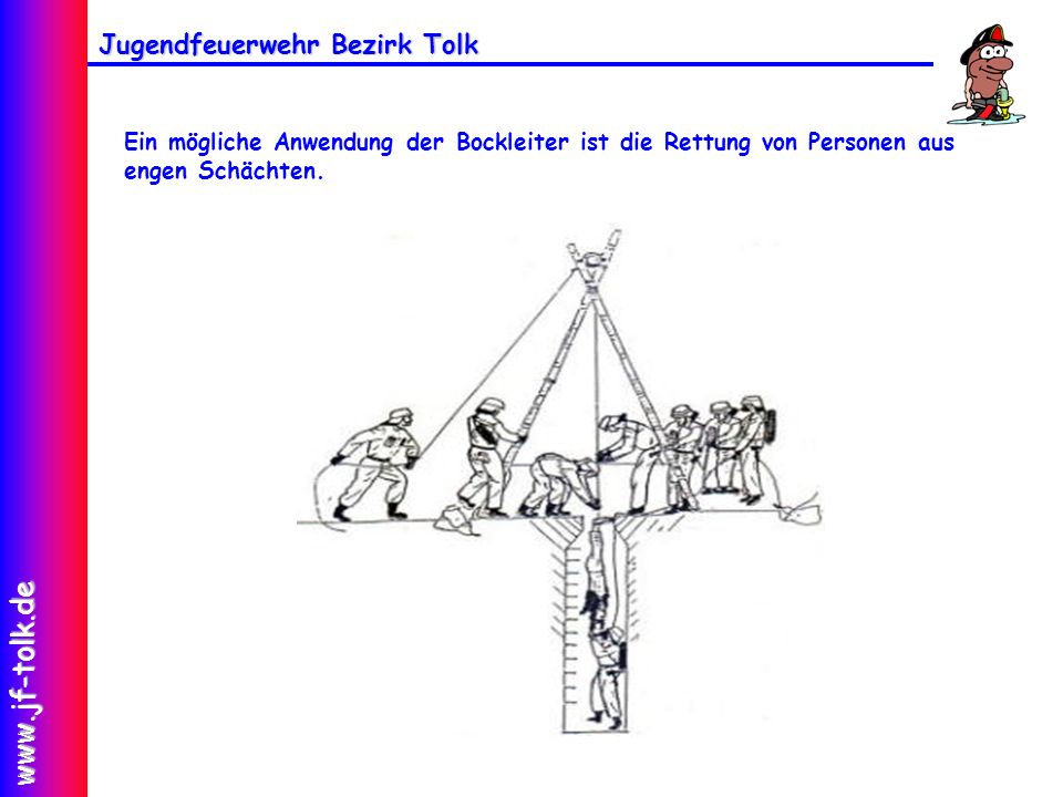 Jugendfeuerwehr Bezirk Tolk www.jf-tolk.de Ein mögliche Anwendung der Bockleiter ist die Rettung von Personen aus engen Schächten.