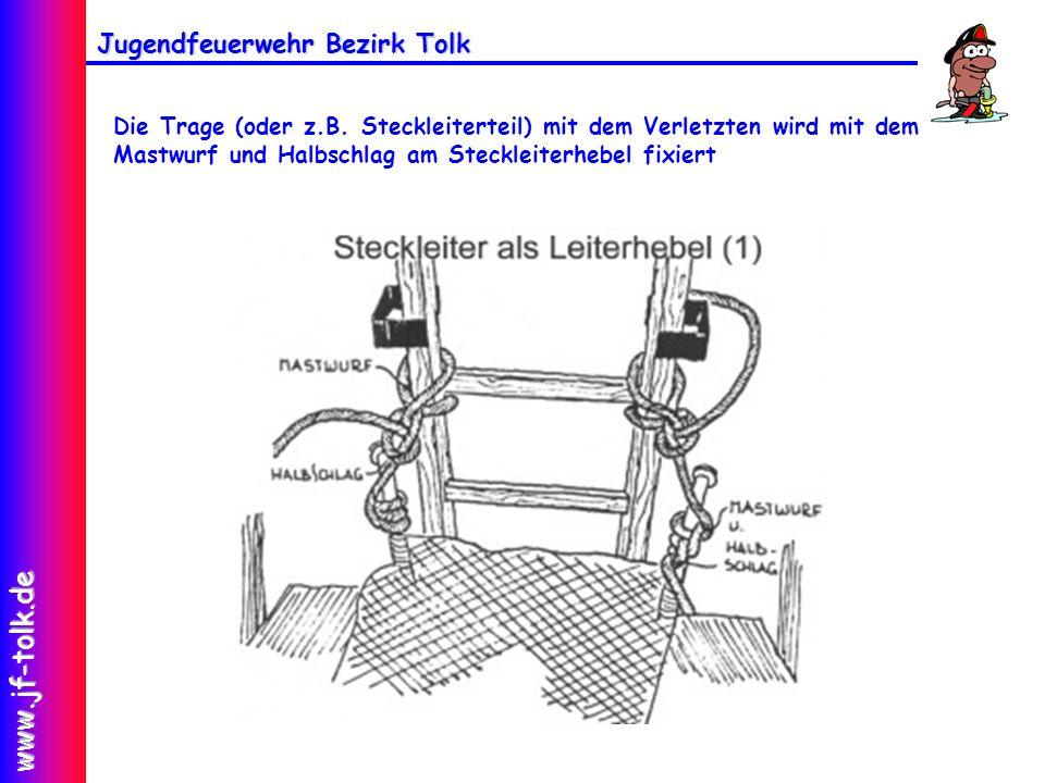 Jugendfeuerwehr Bezirk Tolk www.jf-tolk.de Die Trage (oder z.B. Steckleiterteil) mit dem Verletzten wird mit dem Mastwurf und Halbschlag am Steckleite