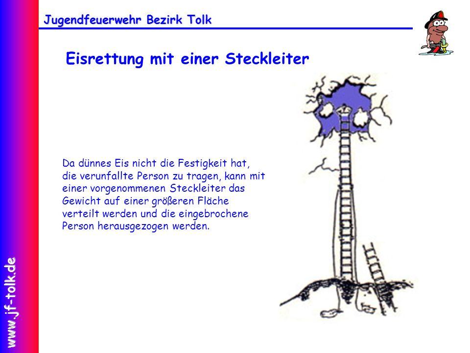Jugendfeuerwehr Bezirk Tolk www.jf-tolk.de Da dünnes Eis nicht die Festigkeit hat, die verunfallte Person zu tragen, kann mit einer vorgenommenen Stec