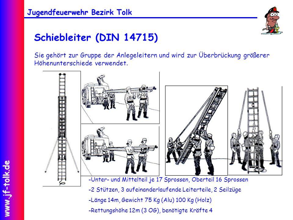 Jugendfeuerwehr Bezirk Tolk www.jf-tolk.de Schiebleiter (DIN 14715) Sie gehört zur Gruppe der Anlegeleitern und wird zur Überbrückung größerer Höhenun