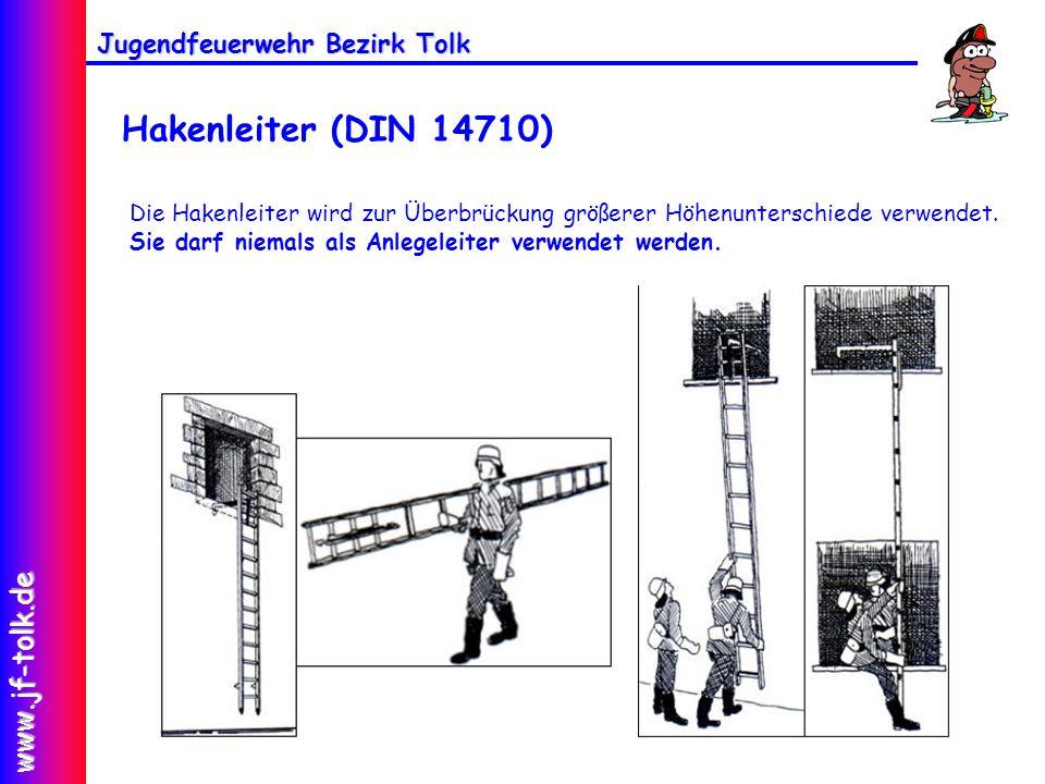 Jugendfeuerwehr Bezirk Tolk www.jf-tolk.de Hakenleiter (DIN 14710) Die Hakenleiter wird zur Überbrückung größerer Höhenunterschiede verwendet. Sie dar