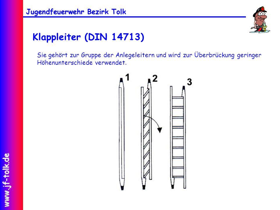 Jugendfeuerwehr Bezirk Tolk www.jf-tolk.de Klappleiter (DIN 14713) Sie gehört zur Gruppe der Anlegeleitern und wird zur Überbrückung geringer Höhenunt