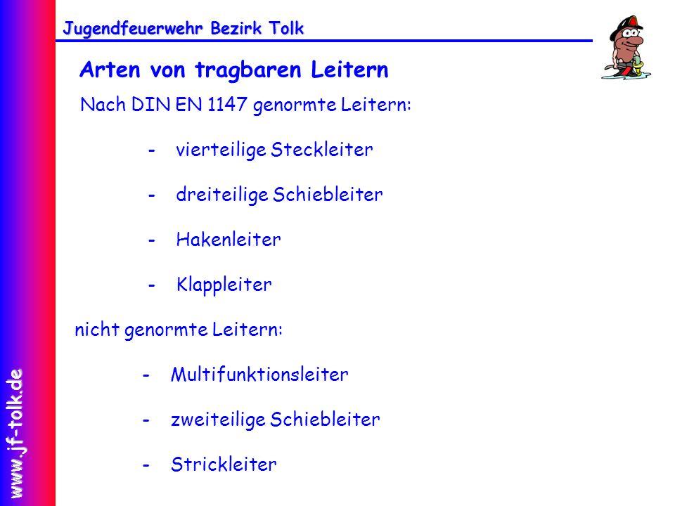 Jugendfeuerwehr Bezirk Tolk www.jf-tolk.de Arten von tragbaren Leitern Nach DIN EN 1147 genormte Leitern: - vierteilige Steckleiter - dreiteilige Schi