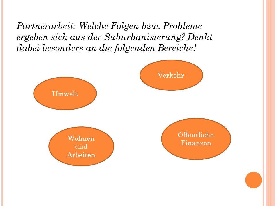 Partnerarbeit: Welche Folgen bzw. Probleme ergeben sich aus der Suburbanisierung.