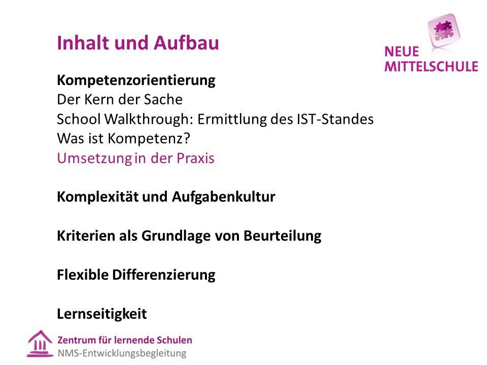 Inhalt und Aufbau Kompetenzorientierung Der Kern der Sache School Walkthrough: Ermittlung des IST-Standes Was ist Kompetenz.