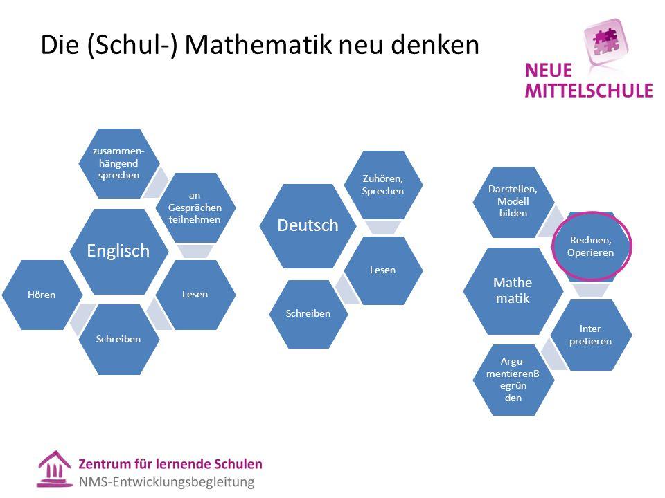 Mathe matik Darstellen, Modell bilden Rechnen, Operieren Inter pretieren Argu- mentierenB egrün den Deutsch Zuhören, Sprechen LesenSchreiben Englisch