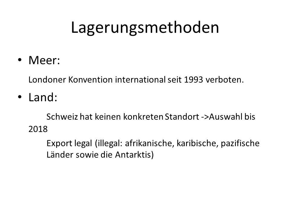 Lagerungsmethoden Meer: Londoner Konvention international seit 1993 verboten.