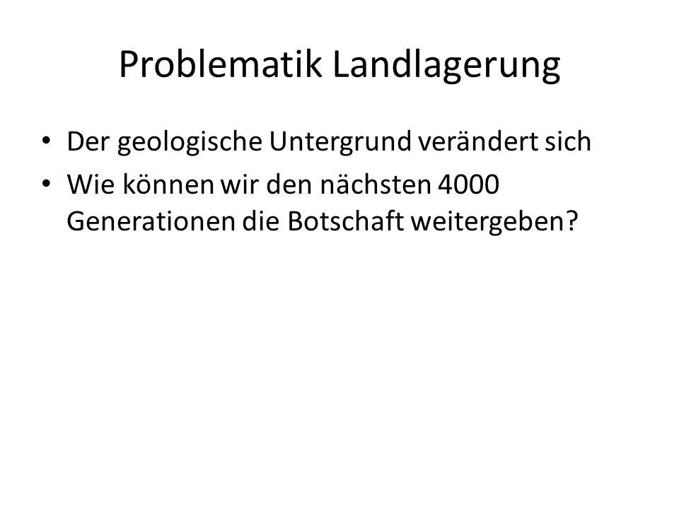 Problematik Landlagerung Der geologische Untergrund verändert sich Wie können wir den nächsten 4000 Generationen die Botschaft weitergeben?