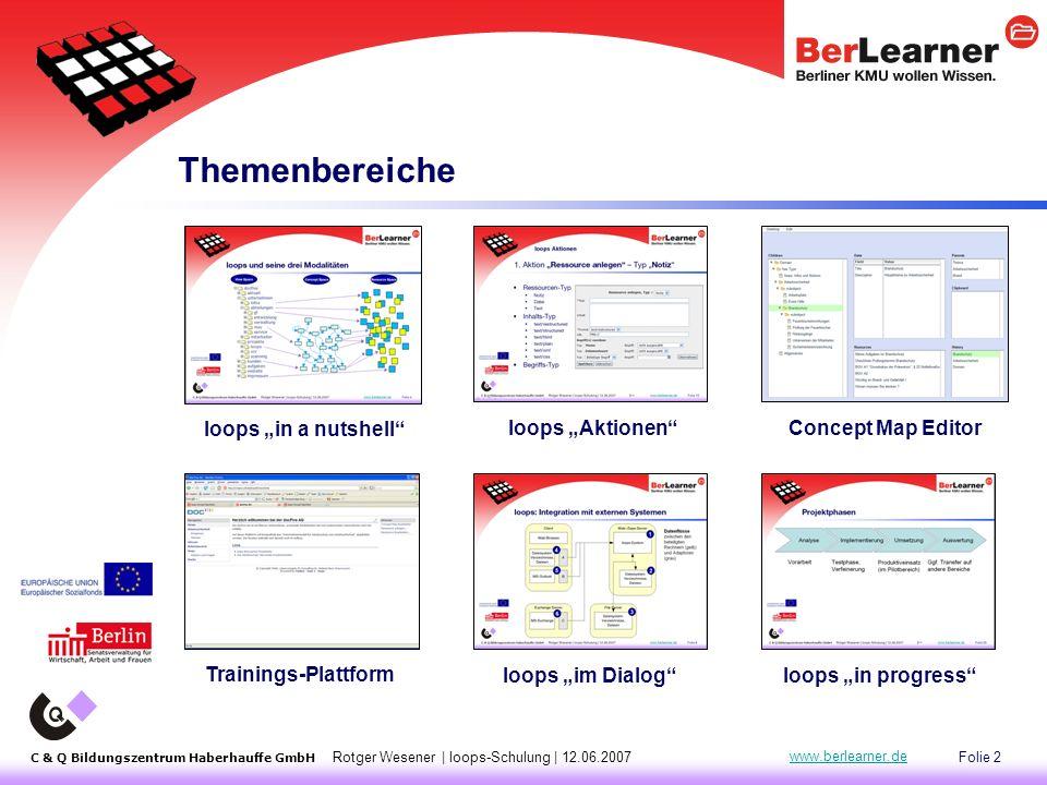"Folie 13 C & Q Bildungszentrum Haberhauffe GmbH Rotger Wesener | loops-Schulung | 12.06.2007 www.berlearner.de loops Aktionen  Aktion ""Ressource anlegen :  Typ ""Notiz  Typ ""Text  Typ ""Datei  Aktion ""Ressource bearbeiten  Aktion ""Concept Map bearbeiten  ""Create Concept  ""Assign Child ---  ""Remove Child  ""Add to Clipboard  ""Remove from Clipboard  ""Move to Top |<<"