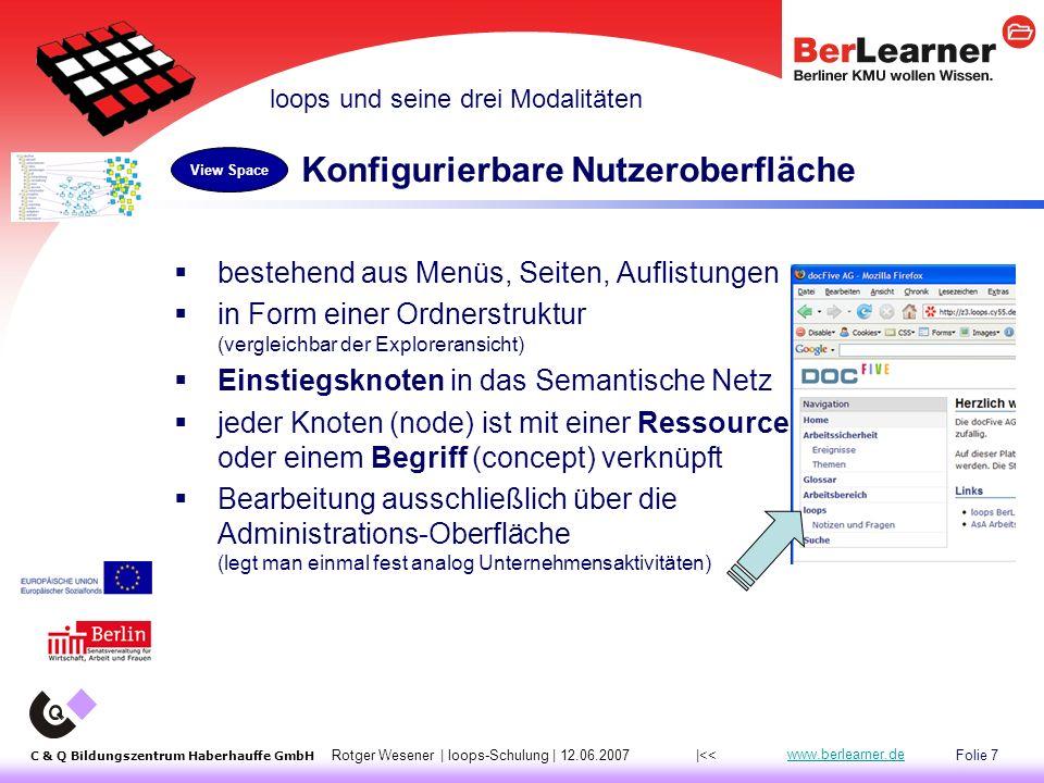 Folie 18 C & Q Bildungszentrum Haberhauffe GmbH Rotger Wesener | loops-Schulung | 12.06.2007 www.berlearner.de 2.