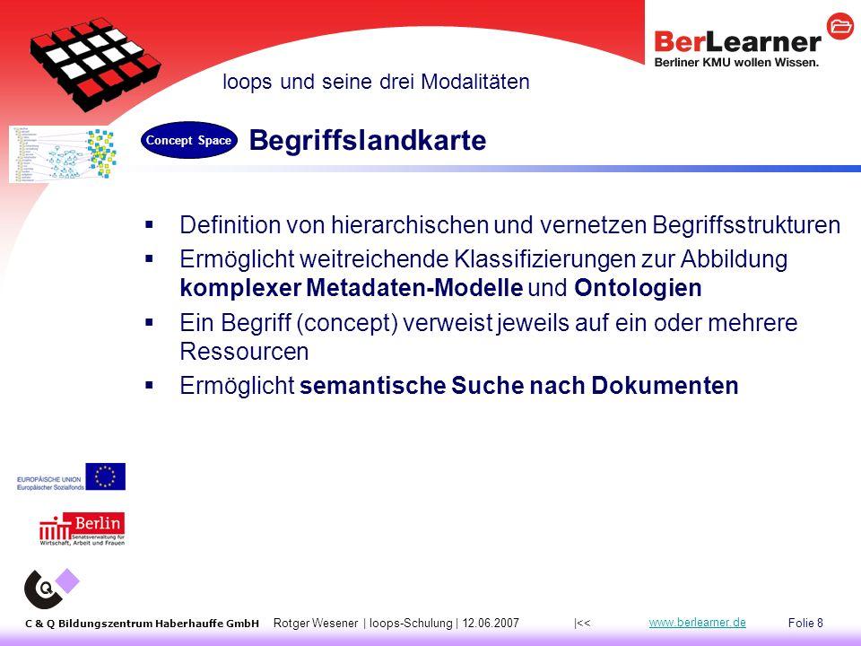 Folie 39 C & Q Bildungszentrum Haberhauffe GmbH Rotger Wesener | loops-Schulung | 12.06.2007 www.berlearner.de Standardverfahren  Edit Resource : Datei neu hochladen; oder  Open for Editing mit Office-Programmen, überschreibt beim Speichern Update-Verfahren: Integration mit externen Systemen 1 |<<