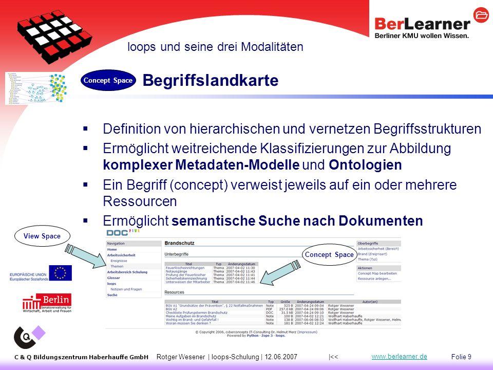 Folie 40 C & Q Bildungszentrum Haberhauffe GmbH Rotger Wesener | loops-Schulung | 12.06.2007 www.berlearner.de Dateisystem des Web-/Zope-Servers  Manuell über Update -Button in Resource Collection, aktualisiert automatisch alle Dateien der Collection (d.h.