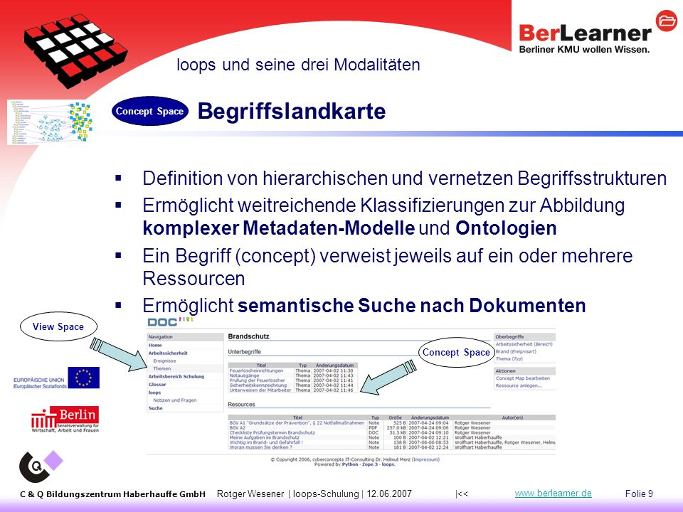 Folie 30 C & Q Bildungszentrum Haberhauffe GmbH Rotger Wesener | loops-Schulung | 12.06.2007 www.berlearner.de Projektphasen |<< Implementierung Umsetzung Analyse Auswertung