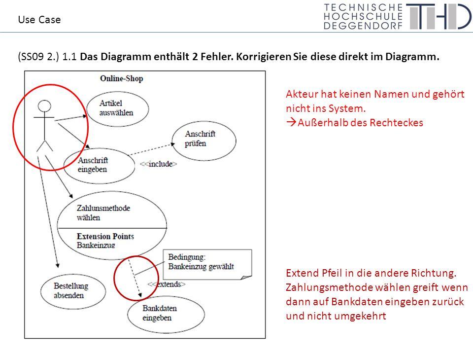 (SS09 2.) 1.1 Das Diagramm enthält 2 Fehler. Korrigieren Sie diese direkt im Diagramm.