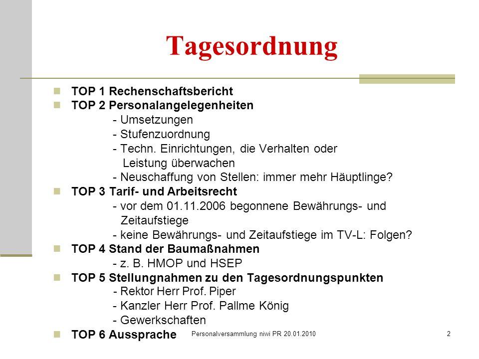 Personalversammlung niwi PR 20.01.20102 Tagesordnung TOP 1 Rechenschaftsbericht TOP 2 Personalangelegenheiten - Umsetzungen - Stufenzuordnung - Techn.