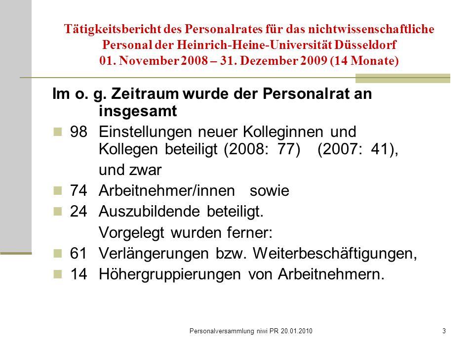 Personalversammlung niwi PR 20.01.20103 Tätigkeitsbericht des Personalrates für das nichtwissenschaftliche Personal der Heinrich-Heine-Universität Düsseldorf 01.