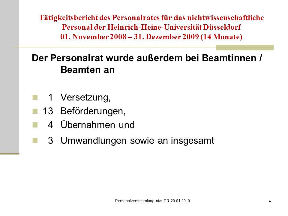 Personalversammlung niwi PR 20.01.20104 Tätigkeitsbericht des Personalrates für das nichtwissenschaftliche Personal der Heinrich-Heine-Universität Düsseldorf 01.