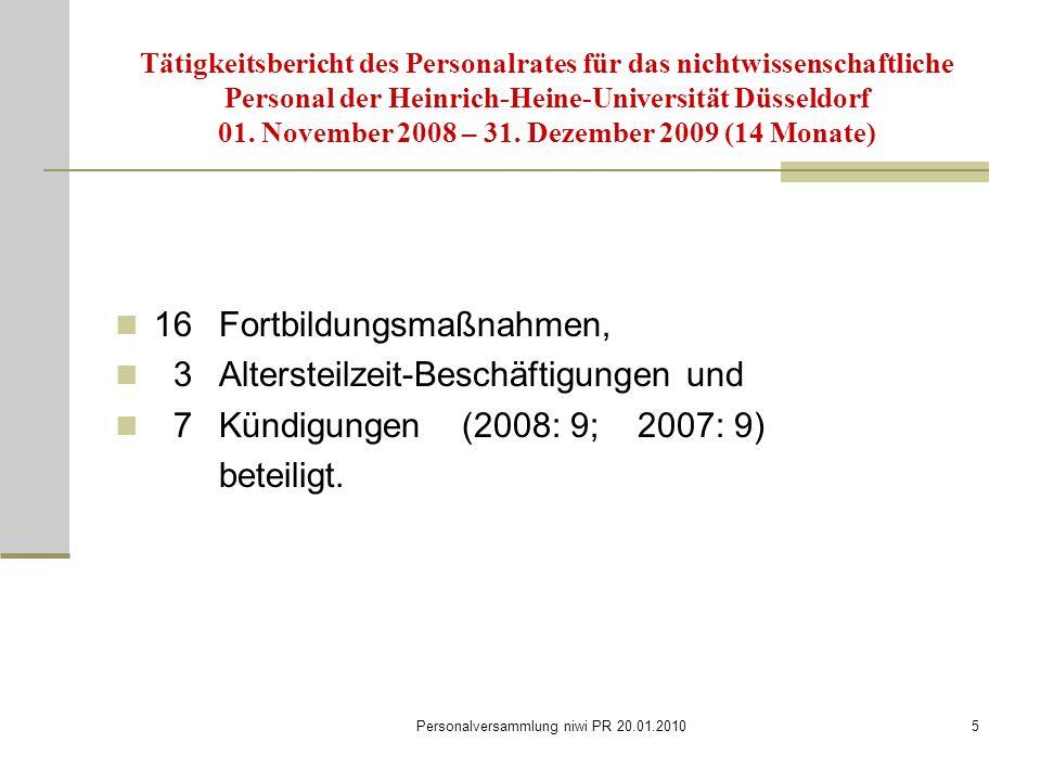 Personalversammlung niwi PR 20.01.20105 Tätigkeitsbericht des Personalrates für das nichtwissenschaftliche Personal der Heinrich-Heine-Universität Düsseldorf 01.