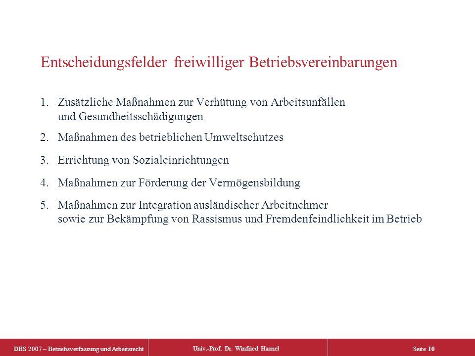 DBS 2007 – Betriebsverfassung und Arbeitsrecht Univ.-Prof. Dr. Winfried Hamel Seite 10 Entscheidungsfelder freiwilliger Betriebsvereinbarungen 1.Zusät