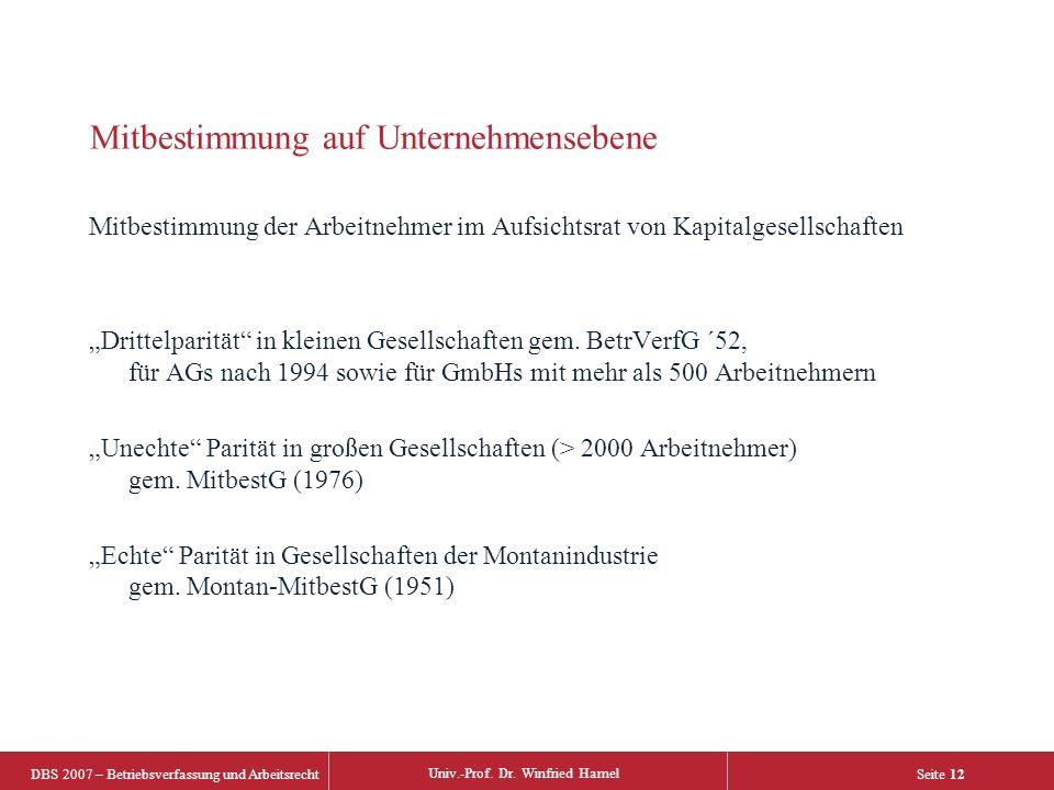 DBS 2007 – Betriebsverfassung und Arbeitsrecht Univ.-Prof. Dr. Winfried Hamel Seite 12 Mitbestimmung auf Unternehmensebene Mitbestimmung der Arbeitneh