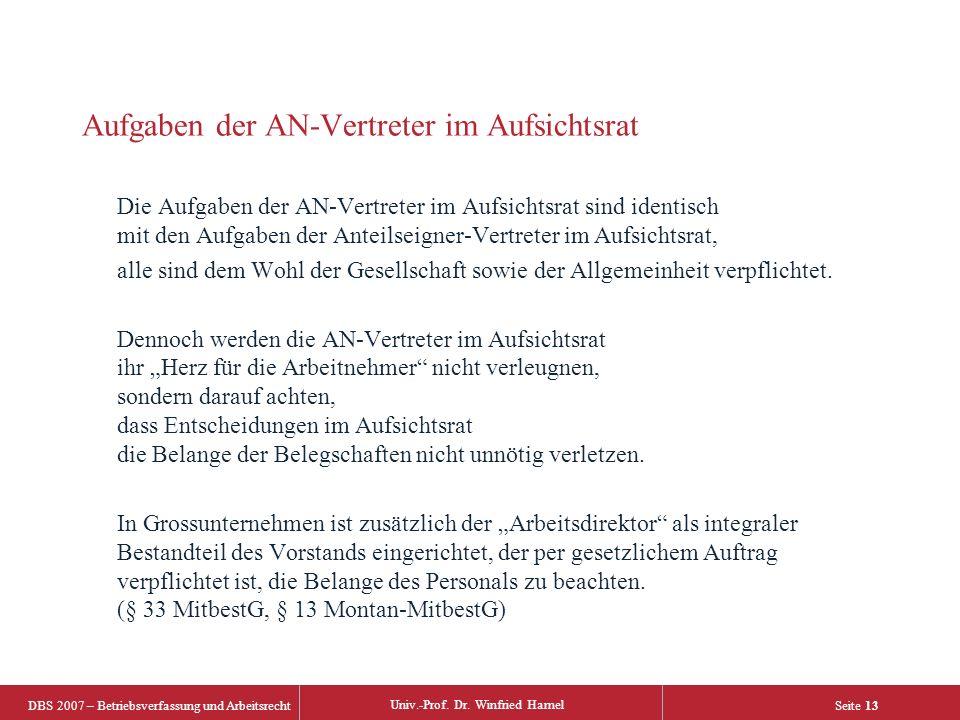 DBS 2007 – Betriebsverfassung und Arbeitsrecht Univ.-Prof. Dr. Winfried Hamel Seite 13 Aufgaben der AN-Vertreter im Aufsichtsrat Die Aufgaben der AN-V