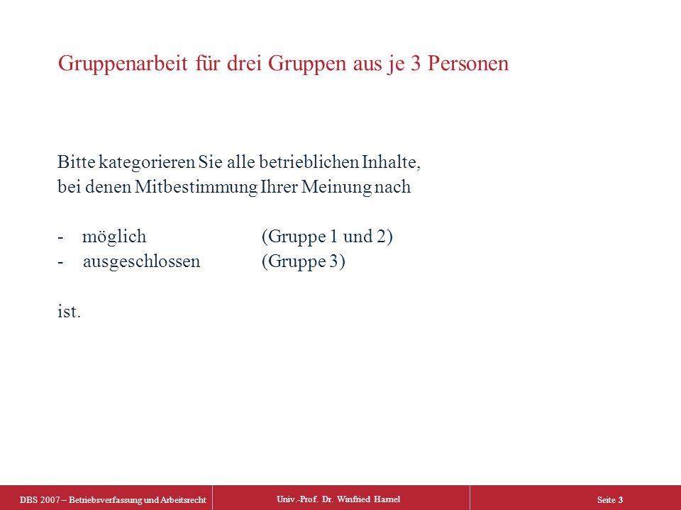 DBS 2007 – Betriebsverfassung und Arbeitsrecht Univ.-Prof. Dr. Winfried Hamel Seite 3 Gruppenarbeit für drei Gruppen aus je 3 Personen Bitte kategorie