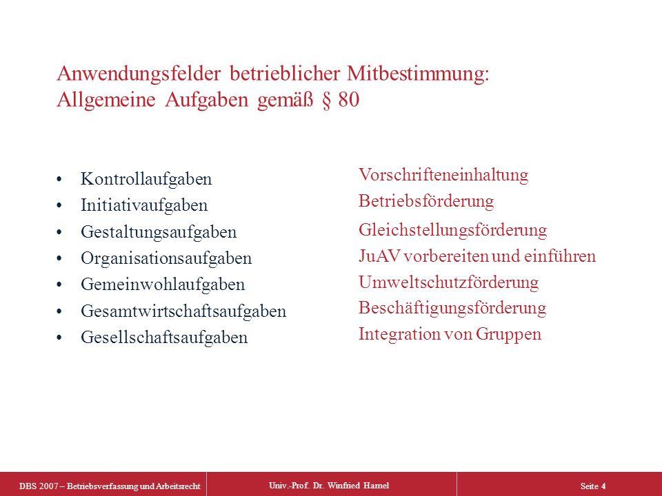 DBS 2007 – Betriebsverfassung und Arbeitsrecht Univ.-Prof. Dr. Winfried Hamel Seite 4 Anwendungsfelder betrieblicher Mitbestimmung: Allgemeine Aufgabe