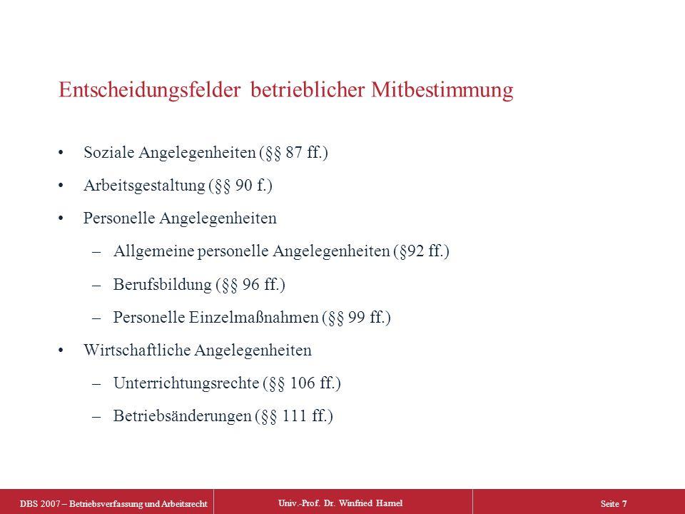 DBS 2007 – Betriebsverfassung und Arbeitsrecht Univ.-Prof. Dr. Winfried Hamel Seite 7 Entscheidungsfelder betrieblicher Mitbestimmung Soziale Angelege