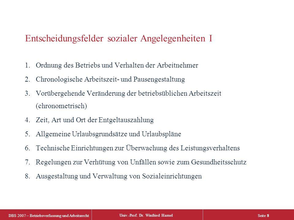 DBS 2007 – Betriebsverfassung und Arbeitsrecht Univ.-Prof. Dr. Winfried Hamel Seite 8 Entscheidungsfelder sozialer Angelegenheiten I 1.Ordnung des Bet