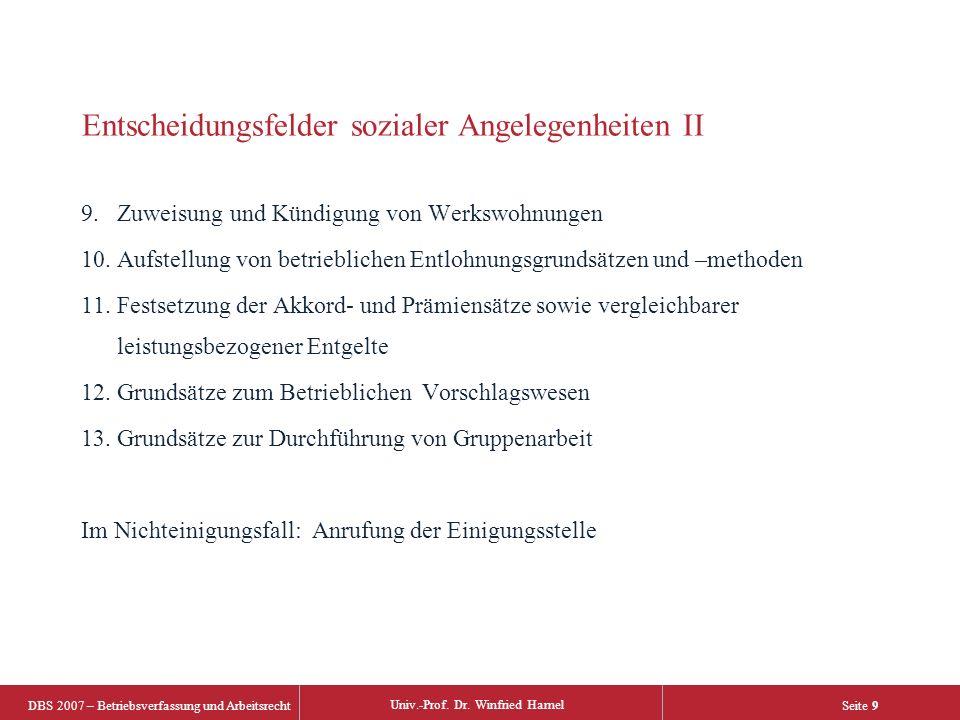 DBS 2007 – Betriebsverfassung und Arbeitsrecht Univ.-Prof. Dr. Winfried Hamel Seite 9 Entscheidungsfelder sozialer Angelegenheiten II 9.Zuweisung und