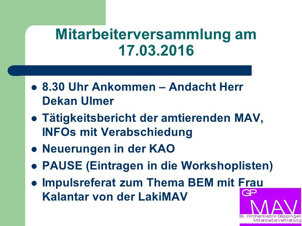 Mitarbeiterversammlung am 17.03.2016 Wird die angesparte Zeit später in Anspruch genommen.