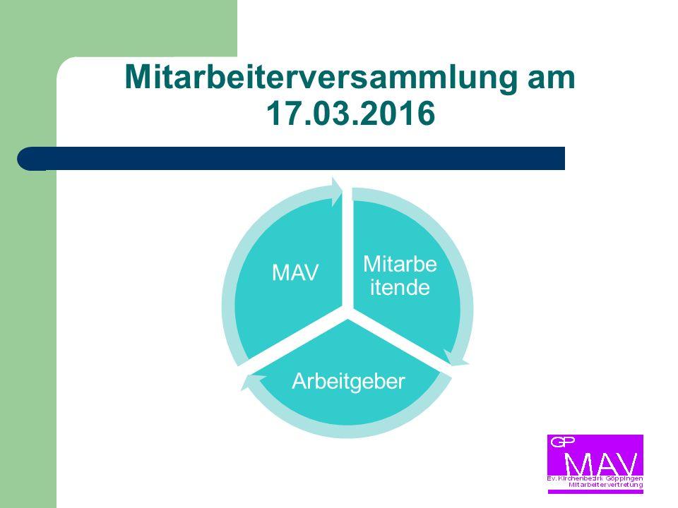 Mitarbeiterversammlung am 17.03.2016 Mitarbe itende Arbeitgeber MAV