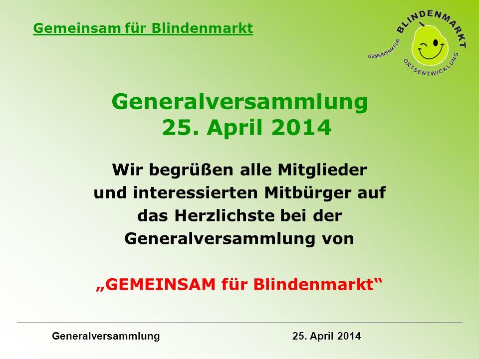 Generalversammlung 25. April 2014