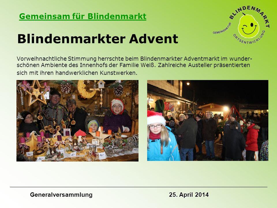 Gemeinsam für Blindenmarkt Blindenmarkter Advent Vorweihnachtliche Stimmung herrschte beim Blindenmarkter Adventmarkt im wunder- schönen Ambiente des Innenhofs der Familie Weiß.
