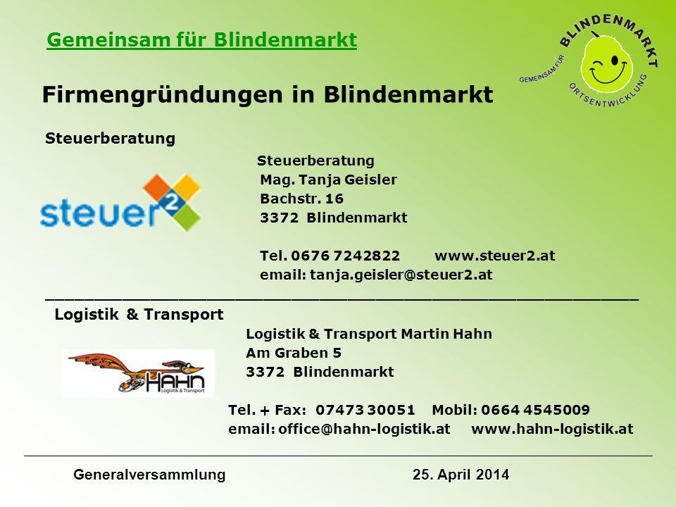 Gemeinsam für Blindenmarkt Firmengründungen in Blindenmarkt Steuerberatung Mag.